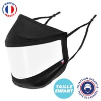 UNS1 50 lavages - Masque enfant transparent noir réglable made in France